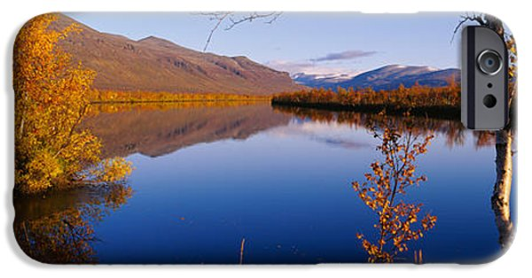 Lapland iPhone Cases - Reflection Of Trees And Mountains iPhone Case by Panoramic Images