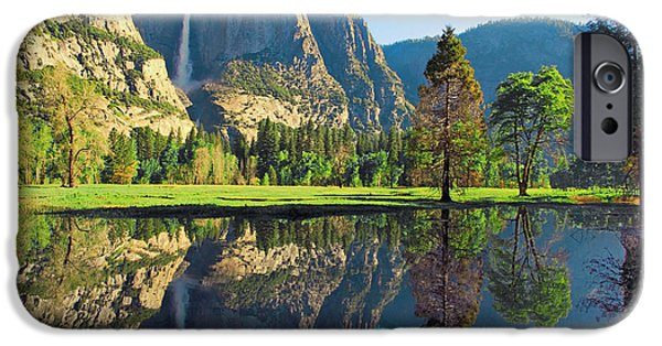 Cathedral Rock iPhone Cases - Reflections of Yosemite Falls iPhone Case by Lynn Bauer