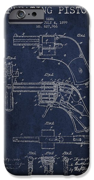 Weapon iPhone Cases - Repeating Pistol Drawing From 1899 iPhone Case by Aged Pixel
