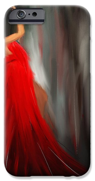Red Abstract iPhone Cases - Resonating Admiration iPhone Case by Lourry Legarde