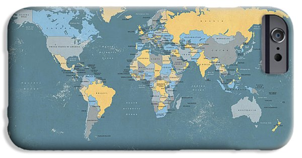 World Digital Art iPhone Cases - Retro Political Map of the World iPhone Case by Michael Tompsett