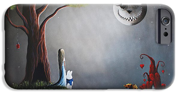 Cat Prints iPhone Cases - Alice In Wonderland Original Artwork iPhone Case by Shawna Erback