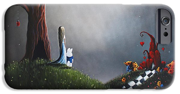 Whimsical. Paintings iPhone Cases - Alice In Wonderland Original Artwork iPhone Case by Shawna Erback