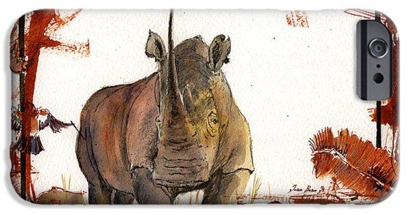 Rhino iPhone Cases - Rhino iPhone Case by Juan  Bosco