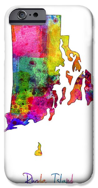Rhode Island iPhone Cases - Rhode Island Watercolor Map iPhone Case by Michael Tompsett