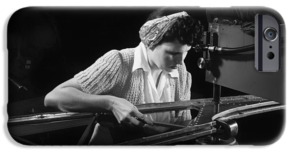 War iPhone Cases - Riveting Machine Operator 1942 iPhone Case by Mountain Dreams