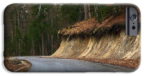 Asphalt Pyrography iPhone Cases - Road in autumn forest landscape iPhone Case by Oliver Sved