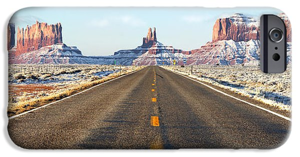 Road Travel iPhone Cases - Road lead into Monument Valley iPhone Case by King Wu