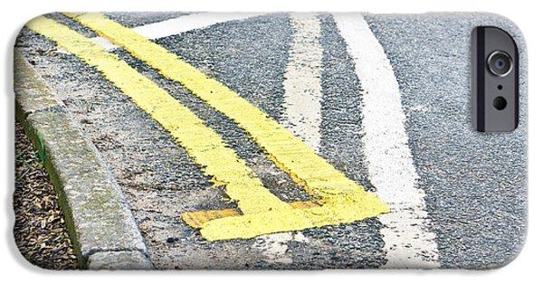 Asphalt iPhone Cases - Road markings iPhone Case by Tom Gowanlock