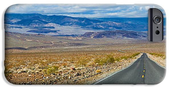 Vanishing iPhone Cases - Road Passing Through A Desert, Death iPhone Case by Panoramic Images