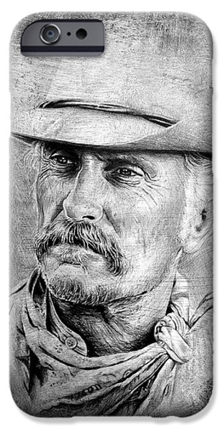 Movie Star Drawings iPhone Cases - Robert Duvall iPhone Case by Andrew Read