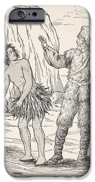 Native Drawings iPhone Cases - Robinson Crusoe and Friday iPhone Case by English School