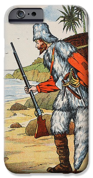 Weapon Drawings iPhone Cases - Robinson Crusoe iPhone Case by English School