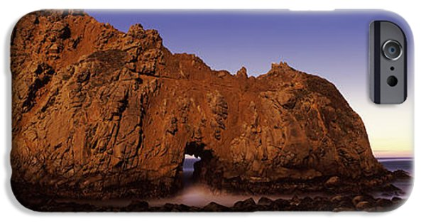 Big Sur Beach iPhone Cases - Rock Formation On The Beach, One Hour iPhone Case by Panoramic Images
