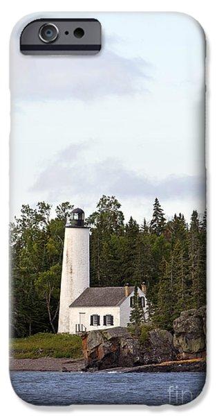 Watson Lake iPhone Cases - Rock Harbor Lighthouse Isle Royale National Park iPhone Case by Jason O Watson