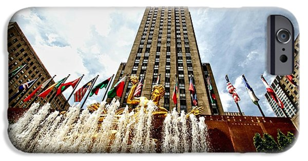 Twin Towers Nyc iPhone Cases - Rockefeller Plaza  iPhone Case by Nick Wardekker