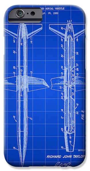 Jet-propelled iPhone Cases - Rocket Patent 1953 - Blue iPhone Case by Stephen Younts