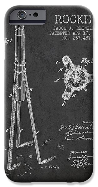 Rockets iPhone Cases - Rocket Patent Drawing From 1883 iPhone Case by Aged Pixel