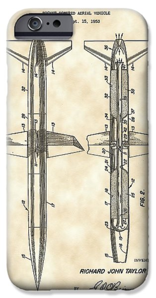 Jet-propelled iPhone Cases - Rocket Patent 1953 - Vintage iPhone Case by Stephen Younts