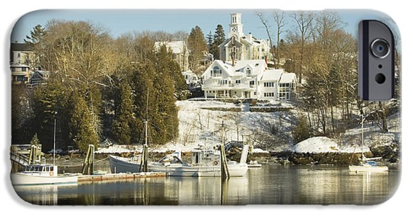 Maine Seascapes iPhone Cases - Rockport in Winter on The Coast Of Maine iPhone Case by Keith Webber Jr