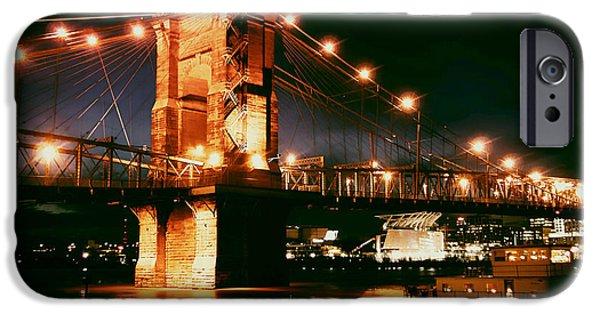 Boat iPhone Cases - Roebling Suspension Bridge in Cincinnati  iPhone Case by Mountain Dreams