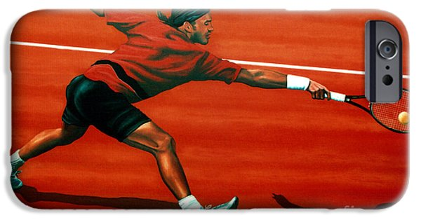 Swiss iPhone Cases - Roger Federer at Roland Garros iPhone Case by Paul Meijering