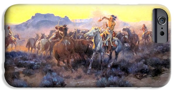 Roping Horse iPhone Cases - Roping Fresh Mounts iPhone Case by Charles Russell