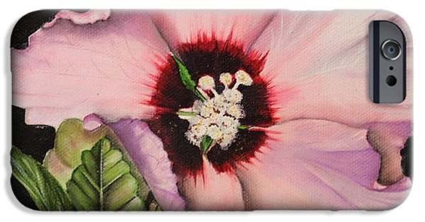 Althea iPhone Cases - Rose of Sharon iPhone Case by Karen Beasley
