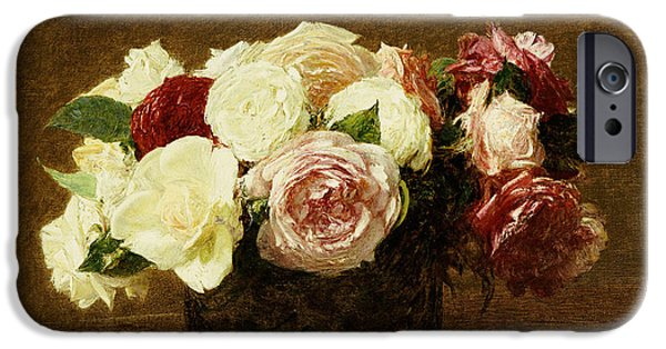 Flower Still Life iPhone Cases - Roses iPhone Case by Ignace Henri Jean Fantin-Latour
