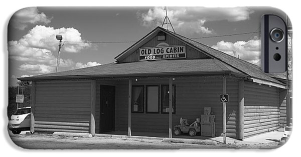 Cabin Window iPhone Cases - Route 66 - Old Log Cabin iPhone Case by Frank Romeo