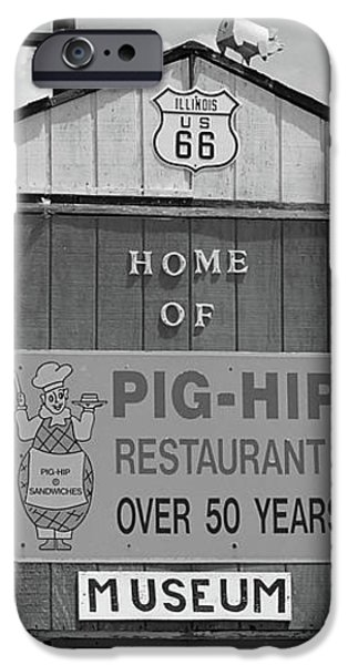 Route 66 - Pig-Hip Restaurant iPhone Case by Frank Romeo