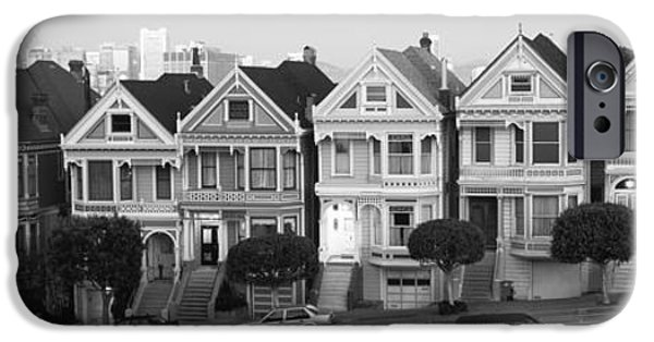 Built Structure iPhone Cases - Row Houses In A City, Postcard Row, The iPhone Case by Panoramic Images