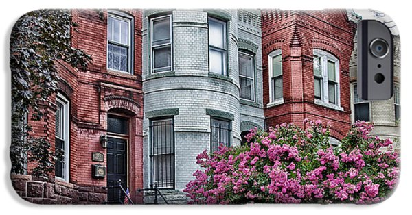 D.c. iPhone Cases - Row Houses in Washington DC iPhone Case by Mountain Dreams