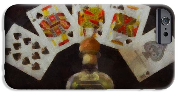 Chip Mixed Media iPhone Cases - Royal Flush iPhone Case by Dan Sproul