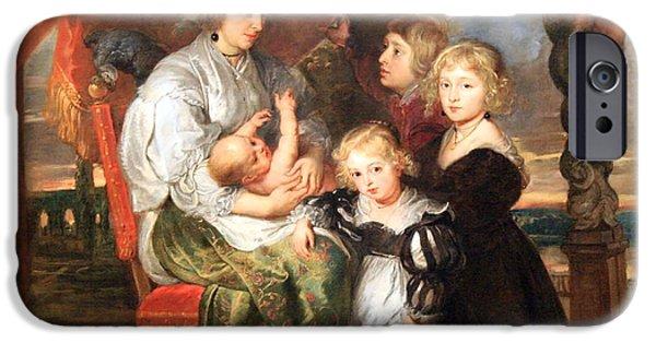 Cora Wandel iPhone Cases - Rubens Deborah Kip -- Wife Of Sir Balthasar Gerbier -- And Her Children iPhone Case by Cora Wandel
