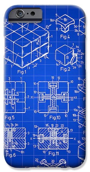 Rubiks Cube iPhone Cases - Rubiks Cube Patent 1983 - Blue iPhone Case by Stephen Younts