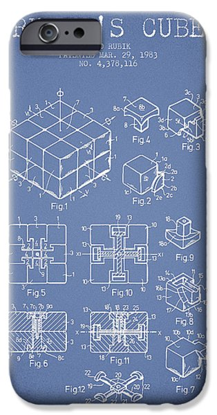 Rubiks Cube iPhone Cases - Rubiks Cube Patent from 1983 iPhone Case by Aged Pixel