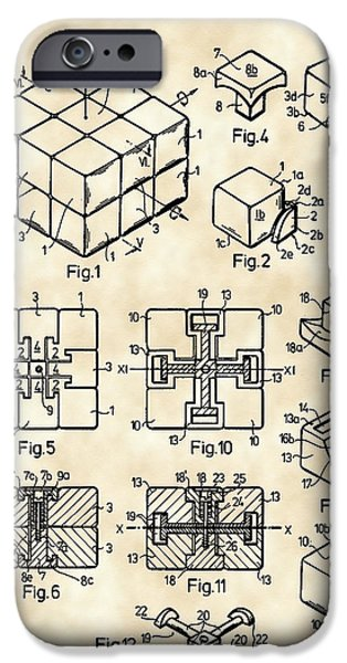 Algorithm iPhone Cases - Rubiks Cube Patent 1983 - Vintage iPhone Case by Stephen Younts