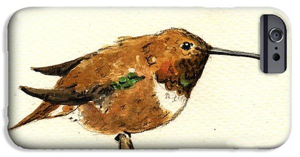 Cute Bird iPhone Cases - Rufous hummingbird iPhone Case by Juan  Bosco