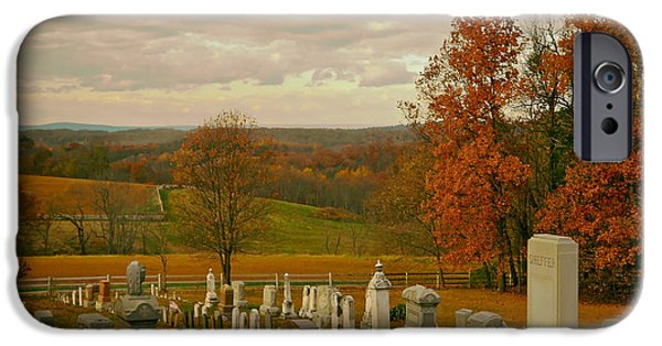 Headstones iPhone Cases - Rural Cemetery in Autumn iPhone Case by Mountain Dreams