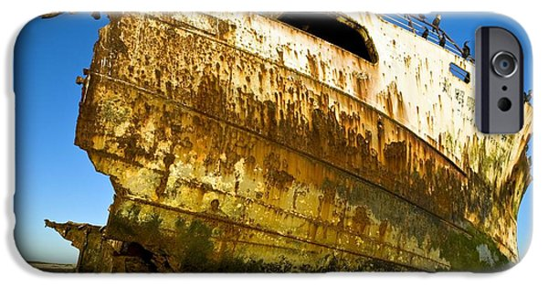 Rust iPhone Cases - Rusting Shipwreck At Low Tide iPhone Case by Peter Chadwick