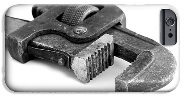 Work Tool Photographs iPhone Cases - Rusty Vintage Pipe Wench iPhone Case by Donald  Erickson