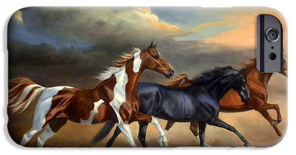 American Saddlebred iPhone Cases - Saddlebreds Three iPhone Case by Jeanne Newton Schoborg