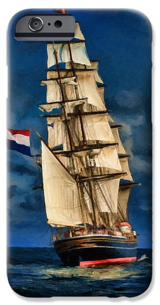 Tall Ship iPhone Cases - Sail Away iPhone Case by Dale Jackson