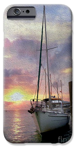 Sailboat Ocean Mixed Media iPhone Cases - Sailboat iPhone Case by Jon Neidert