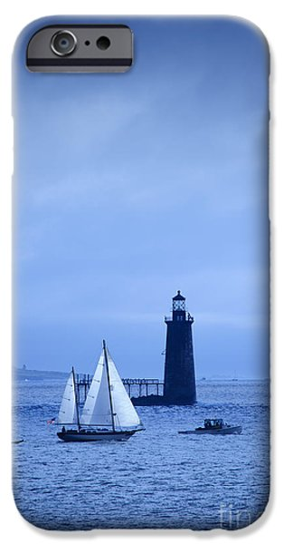 New England Lighthouse iPhone Cases - Sailboat passing by Ram Island Ledge Lighthouse. iPhone Case by Don Landwehrle
