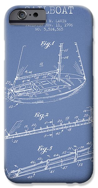 Sailboat Digital Art iPhone Cases - Sailboat Patent from 1996 - Vintage iPhone Case by Aged Pixel