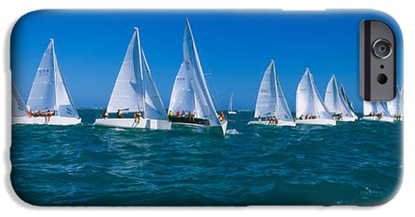 Sailing iPhone Cases - Sailboat Racing In The Ocean, Key West iPhone Case by Panoramic Images