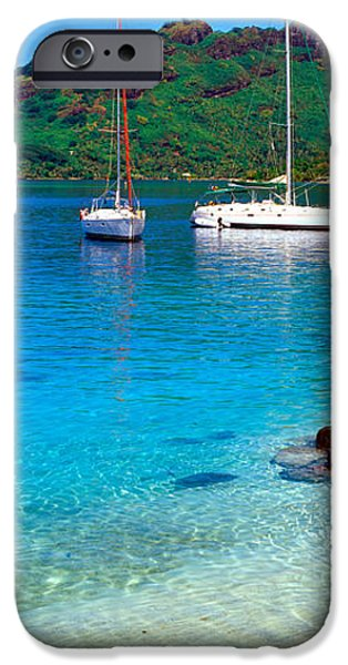 Sailboat Ocean iPhone Cases - Sailboats In The Ocean, Tahiti, Society iPhone Case by Panoramic Images