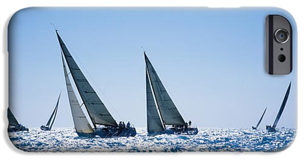 Sailboats iPhone Cases - Sailboats Racing In The Sea, Farr 40s iPhone Case by Panoramic Images